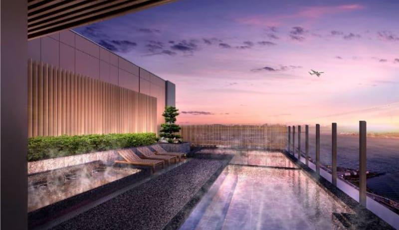 飛行機や富士山を望むことができる展望露天風呂