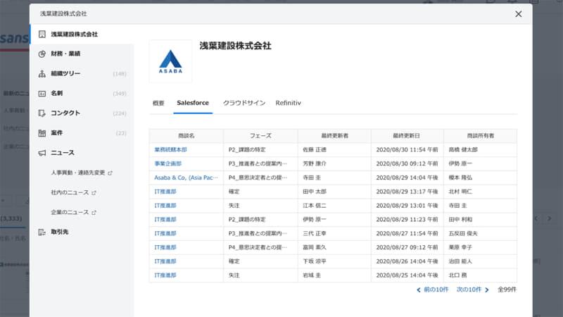 商談管理オプションの画面イメージ