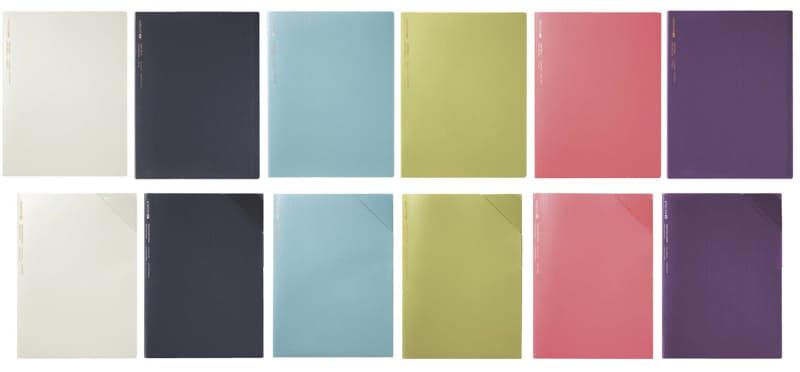 クリヤーブック(上段)、クリヤーホルダー(下段) 左からTOFU WHITE、GRAYISH BLACK、SMOKY SKY、GOLDEN GREEN、SHELL PINK、CHIC PLUM