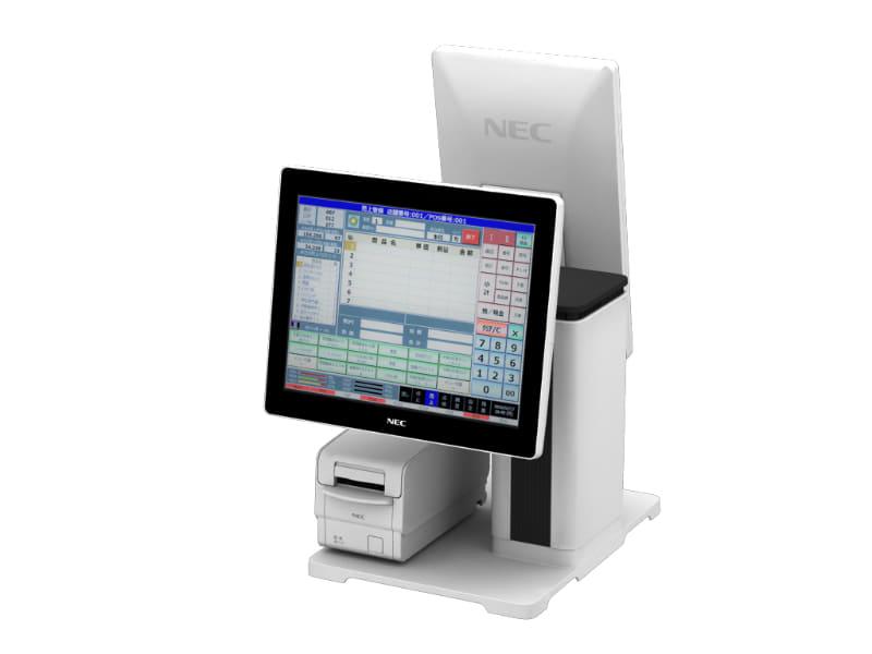 TWINPOS 9700Ti 縦型カスタマディスプレイを搭載し設置幅を抑えた構成例