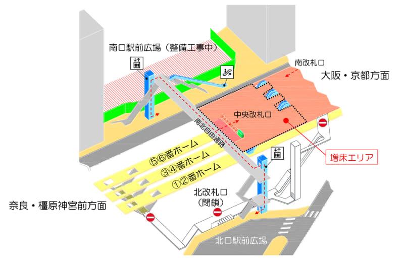 中央改札口への通行ルート