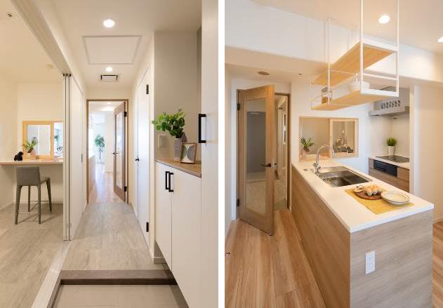 (左)玄関側から、(右)キッチン側から