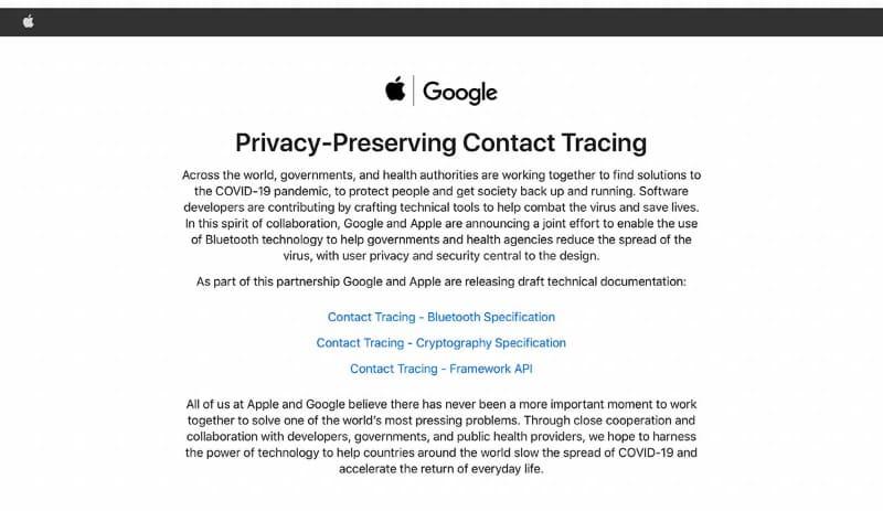 AppleがGoogleと共同で公開している、「プライバシー保護された連絡先追跡」に関する技術解説ページ