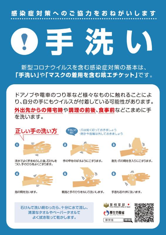 """出典:<a href=""""https://www.kantei.go.jp/jp/content/000059529.pdf"""">首相官邸ホームページ 手洗い(PDF)</a>"""