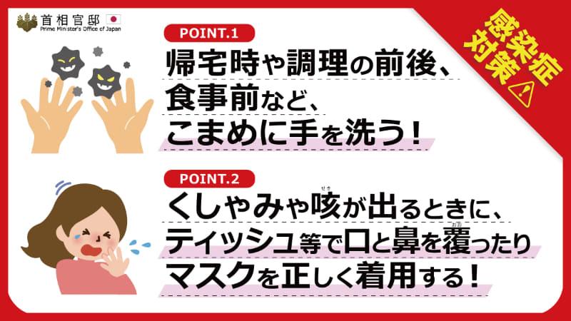 """出典:<a href=""""https://www.kantei.go.jp/jp/content/000058988.pdf"""">首相官邸ホームページ 感染症対策(PDF)</a>"""