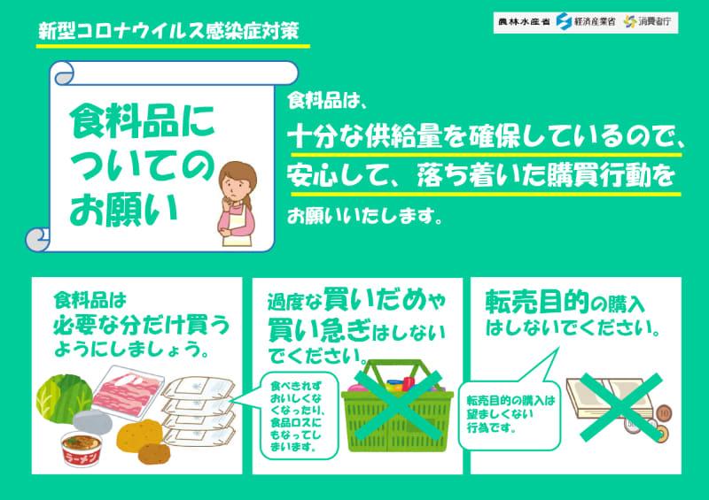"""出典:<a href=""""https://www.kantei.go.jp/jp/content/200326_yousei.pdf"""">首相官邸ホームページ 食料品についてのお願い(PDF)</a>"""