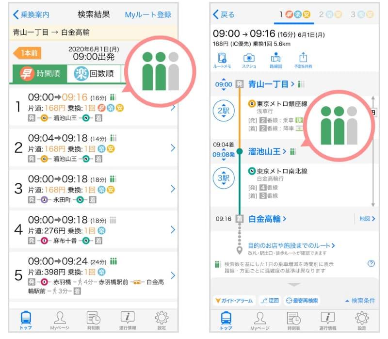 ルート検索結果画面(左)と検索結果詳細画面