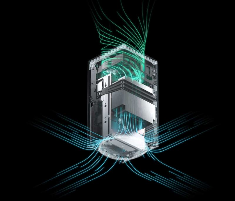 Xbox Series Xのエアフロー構造。四角いボディの下から吸気して全体へ空気を流し、上へと逃す形で、PS5とも異なる