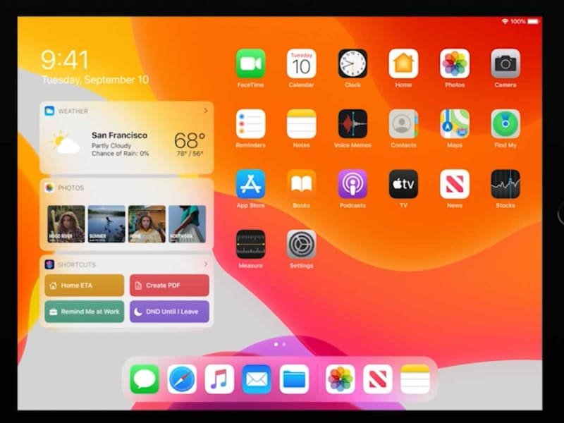iPadOS 13(現行バージョン)の画面。ホーム画面の左にウィジェットを常に置けるようになった。これは今思えば、iOS 14での進化の「布石」だったのかもしれない