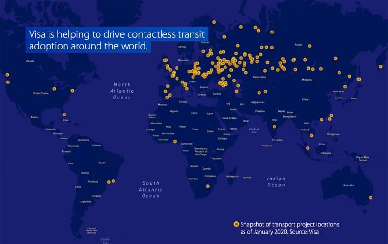 Visaが公開している2020年1月時点での世界の交通系オープンループを導入した都市、あるいは導入予定の都市をマークアップした地図(出典:Visa)
