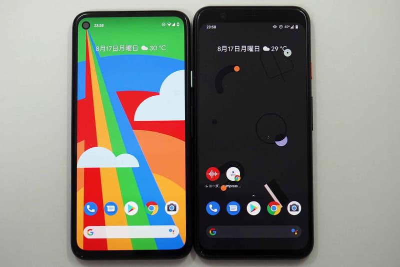 Pixel 4a(左)とPixel 4(右)