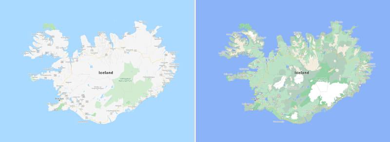 アイスランドの例。右が新しいマップ(以下同)。白い部分はヴァトナヨークトル氷河