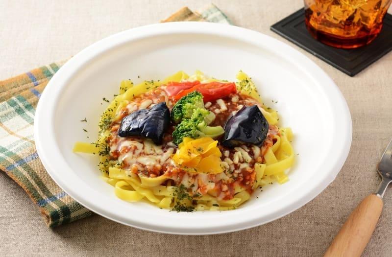 彩り野菜の大豆ミートパスタ