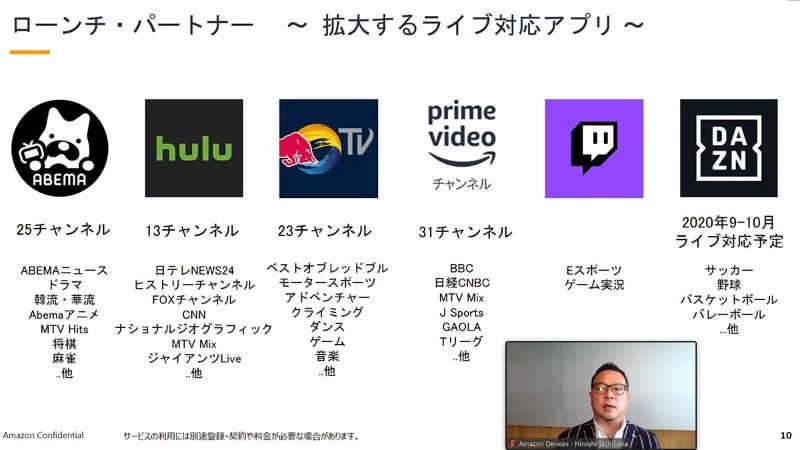「ライブ」タブのローンチ現在、対応しているサービス。小画面で写っているのがAmazonの橘宏至氏