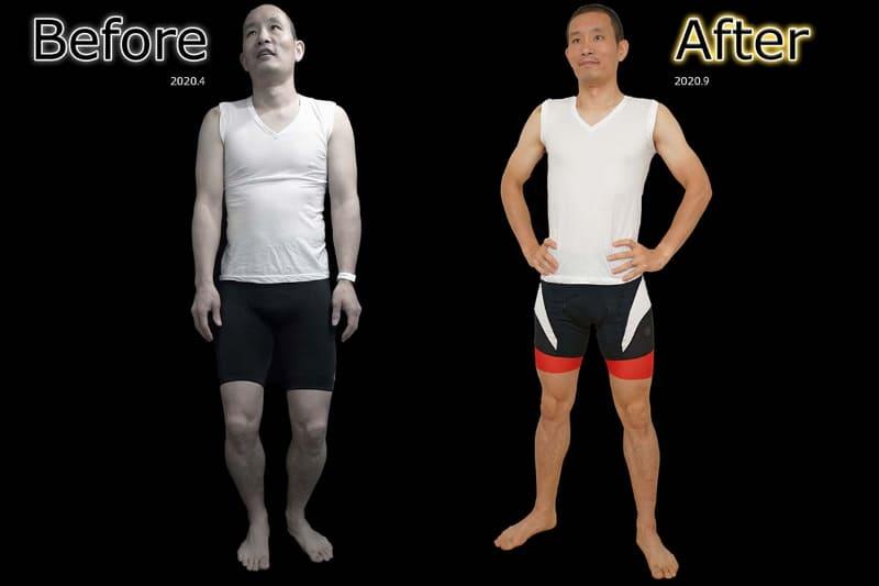 4月の筆者(左)と、そこから5カ月で10kg減を達成した筆者(右)