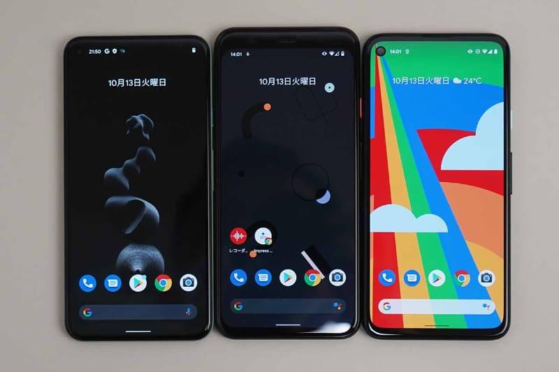 左からPixel 5、Pixel 4、Pixel 4a、ディスプレイ側