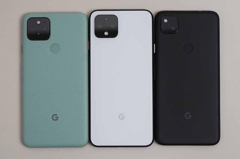 左からPixel 5、Pixel 4、Pixel 4a、背面側