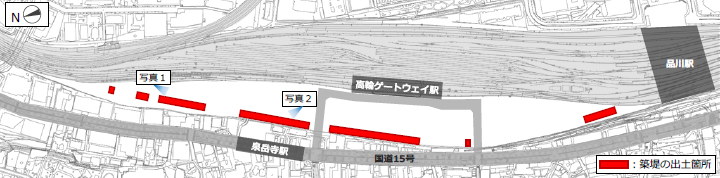 築堤の出土箇所