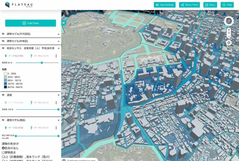 その街区の従業員数データと組み合わせた例。青が濃いところほど従業員数が多い地域