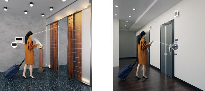 (左)顔認証採用のエントランス、(右)スマートロック採用の住戸玄関扉