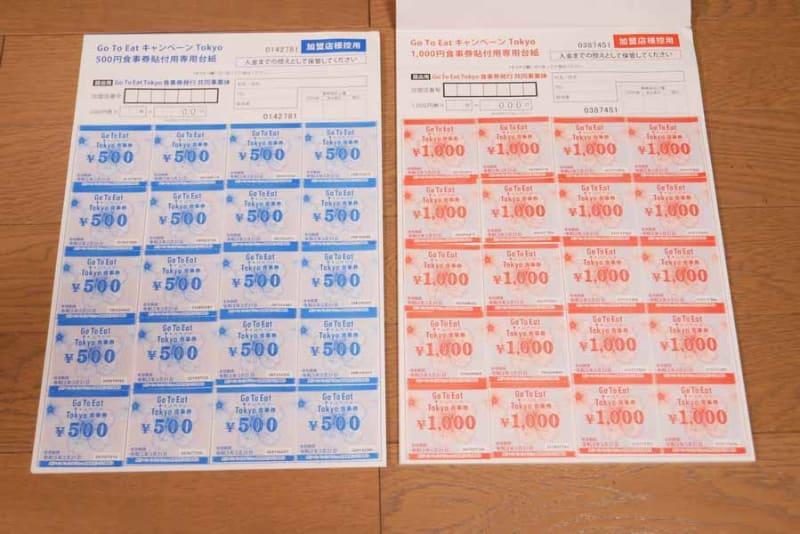このように食事券を貼って、台紙1枚ごとに金額を記入