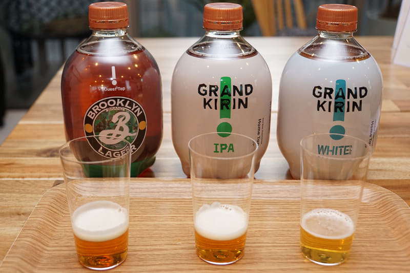 左から「BROOKLYN LAGER」、「GRAND KIRIN IPA」、「GRAND KIRIN WHITE ALE」