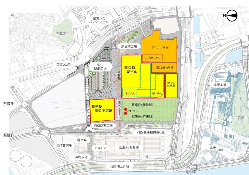 長崎駅高架下店舗・新長崎駅ビル位置平面図