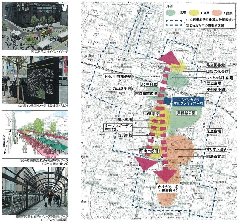 甲府駅南口駅前広場の活用イメージと、街の回遊性を高める計画の検討図