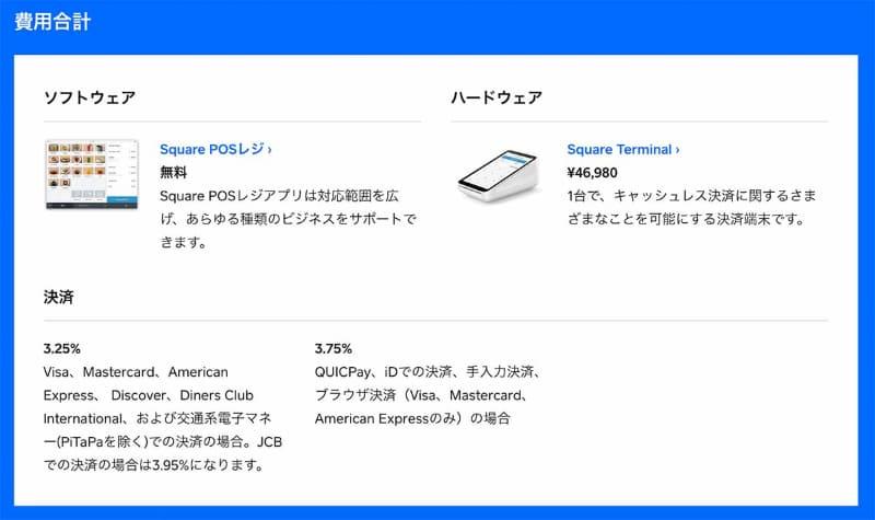 Squareが日本の加盟店に設定している決済手数料