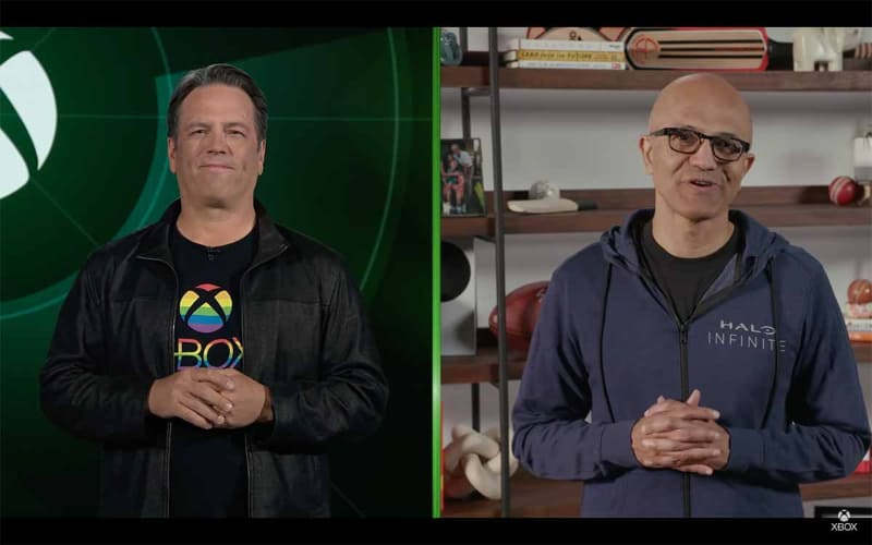Xbox事業の責任者であるChief of Xboxのフィル・スペンサー氏と米マイクロソフトCEOのサティア・ナデラ氏