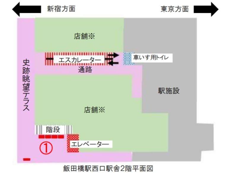 飯田橋駅西口駅舎2階平面図