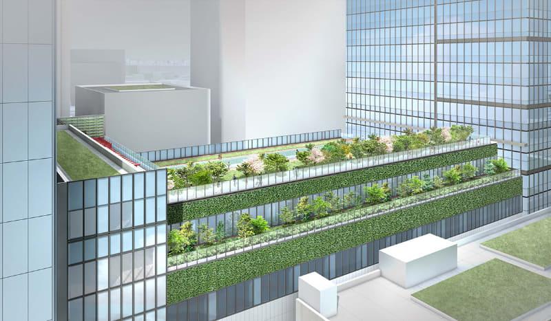 旧芝離宮恩賜庭園と立体的な繋がりを意識した屋上緑化
