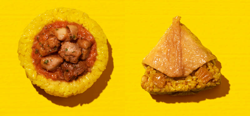 (左)バターチキンカレーおむすび(138円)、(右)スパイシーカレーいなり寿司(149円)