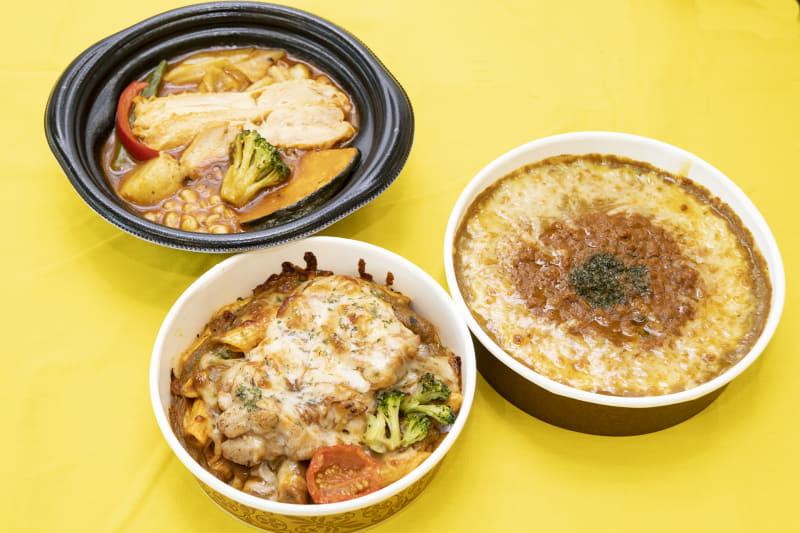 (左上)グリルチキンと7種野菜のスープカレー押麦入(438円)、(左下)チキンのカレーチーズ焼き(380円)、(右)スパイス香る!焼きカレードリア(468円)