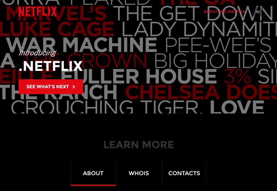 Netflix専用gTLD「.netflix」は、5月28日付でルートゾーンに追加。同gTLDを紹介する「nic.netflix」というページが開設されている