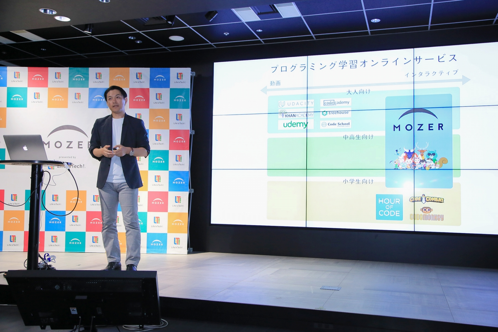 「MOZER」の立ち位置を説明するライフイズテック株式会社取締役CTOの橋本善久氏