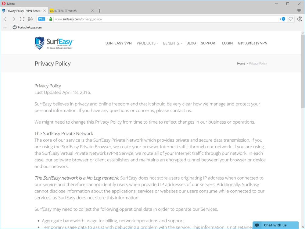 サービス自体はSurfEasyが提供。プライバシーポリシーもこちらが適用される