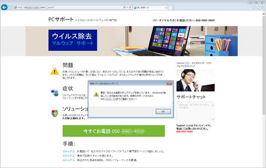 「ウイルス除去」の名目で、「マイクロソフトソフトウェアエキスパート」に問い合わせをさせるパターン。エキスパートの名前・写真が日本人風になっているバージョン(トレンドマイクロセキュリティブログより画像転載)