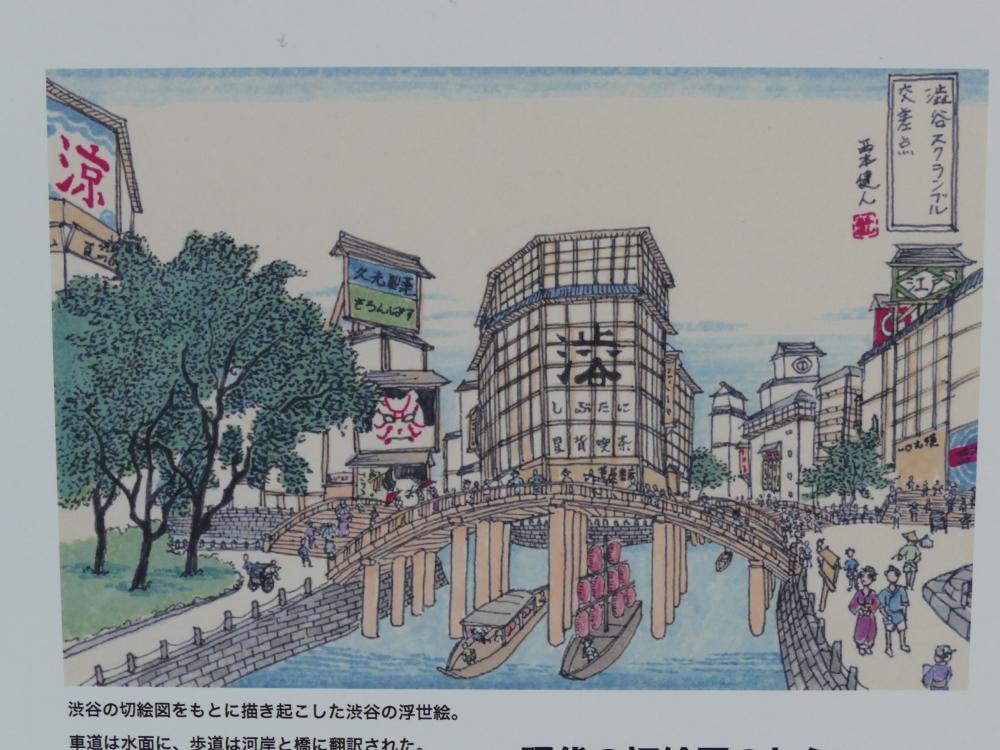 渋谷駅前の交差点を立体描写