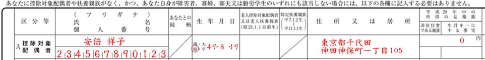 配偶者の来年の年収が103万円以下なら記入する
