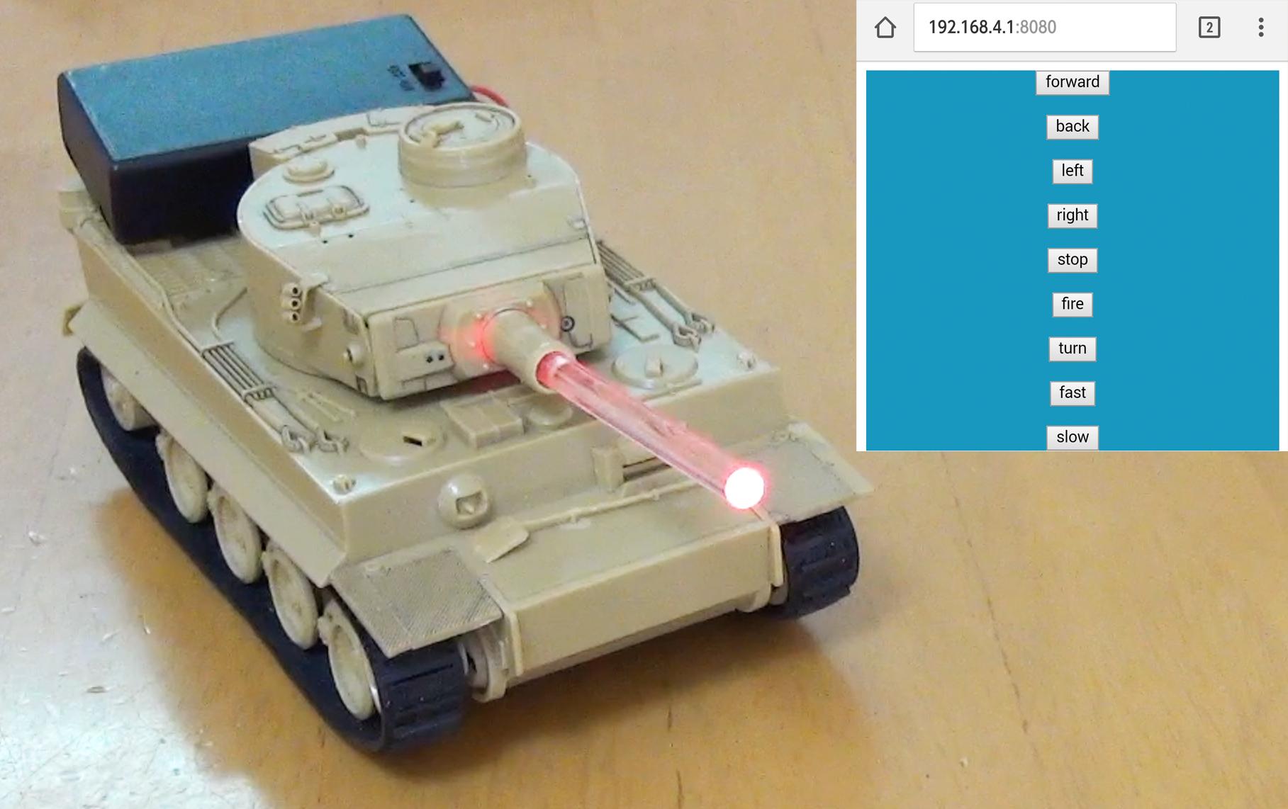 スマートフォンからタイガーIを遠隔操作するイメージ
