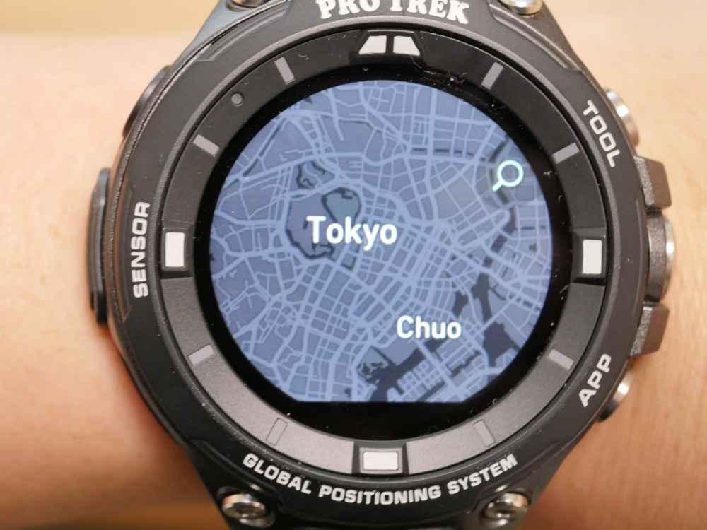 「ロケーションメモリー」での地図表示(Mapbox「ダーク」)