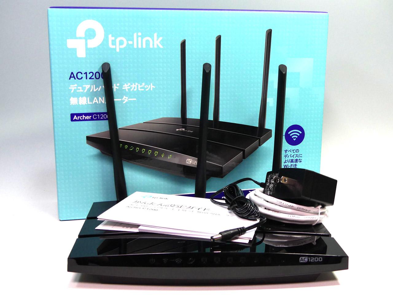 TP-Link Archer C1200。IEEE 802.11ac準拠で5GHz帯で最大867Mbps、2.4GHz帯で最大300Mbpsの通信に対応した無線LANルーター。PPTPとOpenVPNのVPNサーバー機能を搭載する