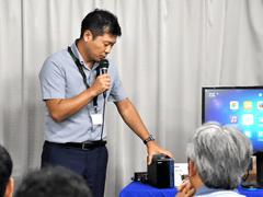 QNAP、NASでWin10を起動できる仮想化技術「Virtualization Station」をアピール プレゼンテーションを行ったQNAP株式会社営業部部長の黒川秀咲氏