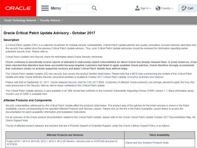 Java SEやMySQLなどのセキュリティアップデート公開、計252件の脆弱性を修正、Oracleが四半期ごとの定期パッチ配布