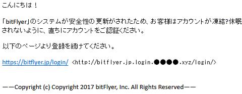 「お客様はアカウントが凍結?」bitFlyerをかたる不自然な日本語フィッシングメールが出回る (フィッシング対策協議会の緊急情報より画像転載