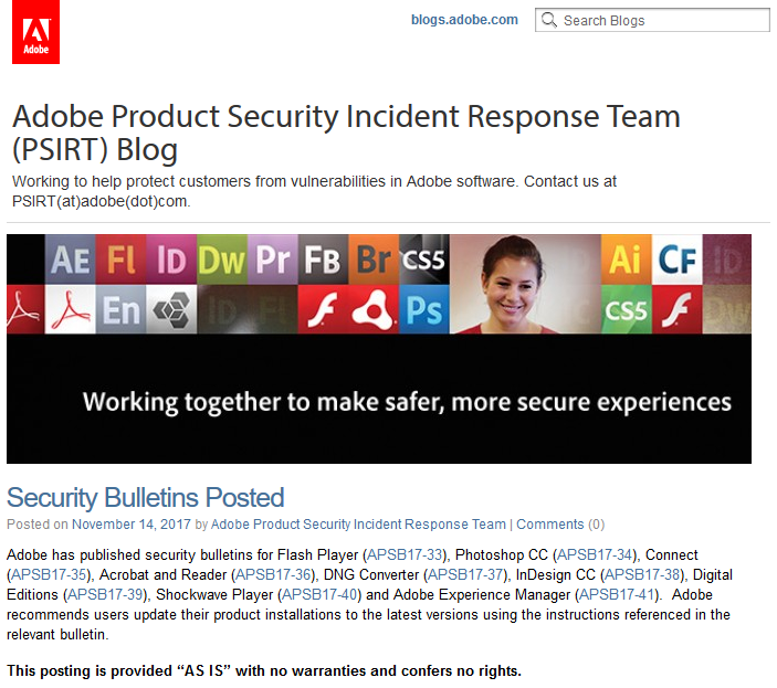 Adobe Product Security Incident Response Team公式ブログ