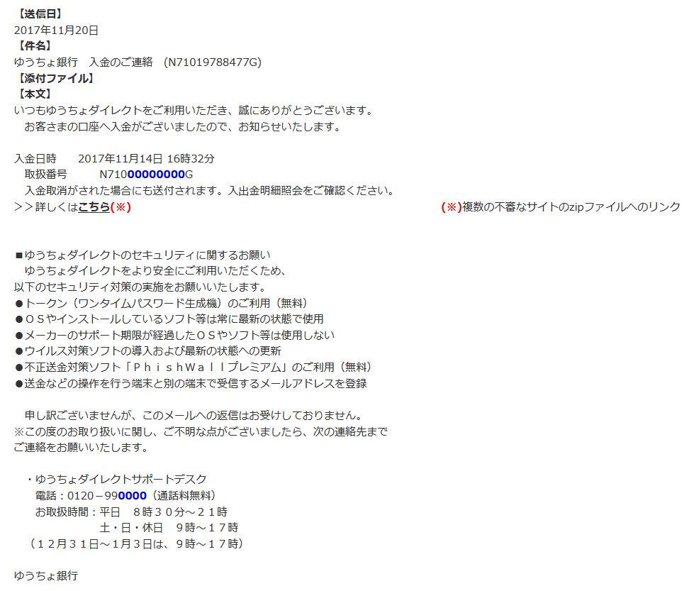 ゆうちょ銀行をかたるウイルスメール(JC3の注意喚起情報ページより)