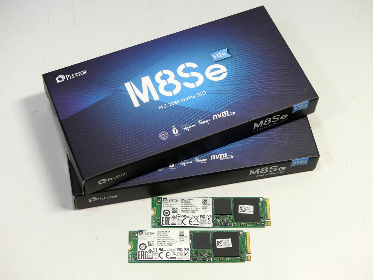 テスト用のNVMe SSDには、PLEXTOR M8Seを使用