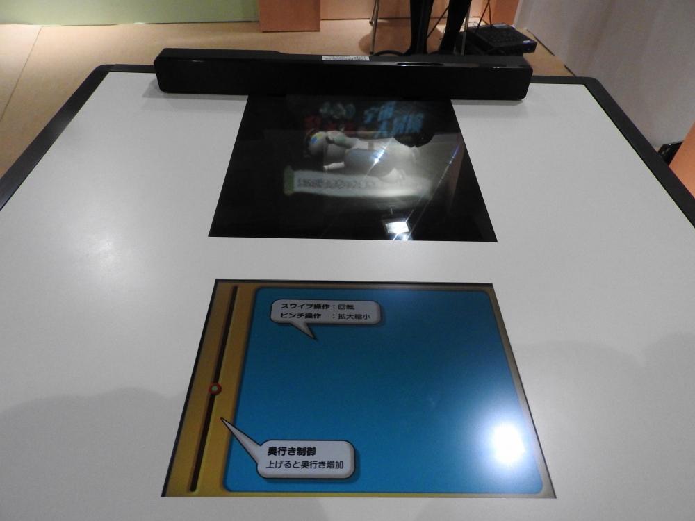 手前が普通のタッチパネル液晶。奥がインテグラル立体テレビ。タッチパネル液晶でスワイプやピンチを行うことで、インテグラル立体テレビに浮かび上がる立体映像が回転したり、大きさが変わったりする
